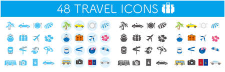 Illustrations of tourism icons Vector