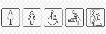 icon of toilet restroom exit vector 일러스트