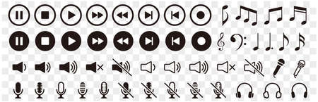 Music and sound icon set. Music sign. Vector