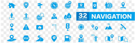 Navigation, location, GPS elements - thin line web icon set. Outline icons collection. Simple vector illustration.