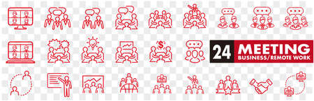 Meeting line icon set. Included icons as meeting room, team, teamwork, presentation, idea, brainstorm and more. Vettoriali