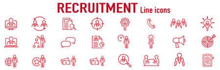 Set of recruitment vector Outline 矢量图片