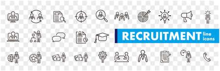 Set of recruitment vector Outline Vektoros illusztráció