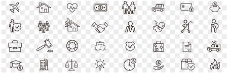 Insurance icon set vector illustration. 矢量图片