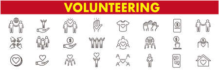 Volunteering icons set. Outline set of volunteering vector icons for web design isolated on white background