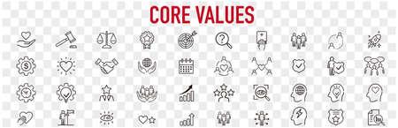 Set of core values icons vector Vecteurs