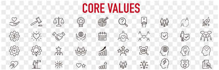 Set of core values icons vector Vektorové ilustrace
