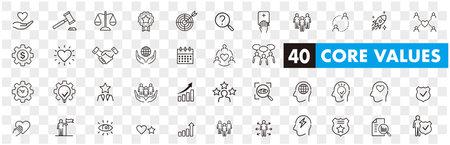 Set of core values icons vector Ilustración de vector