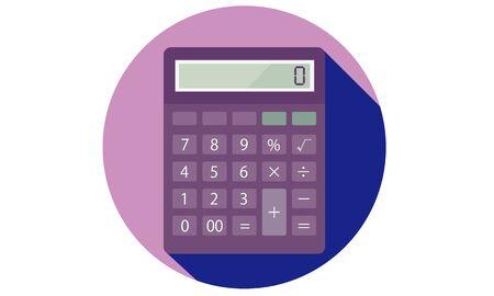 Illustratie van een platte en eenvoudige rekenmachine
