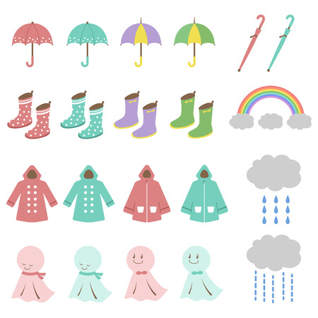 the rainy season: Rainy season illustration set