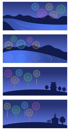 homecoming: Fireworks night sky background set Illustration