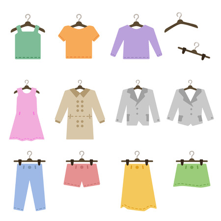 Clothes hanger with icon set Vectores
