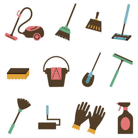 Cleaning tool icon set Stock Illustratie