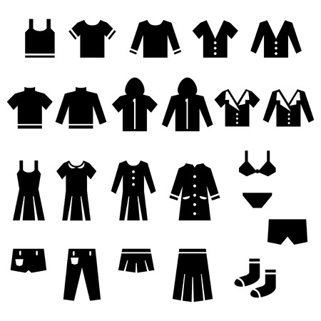 Clothes icon set Stock Illustratie