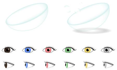 lentes contacto: Lentes de contacto de color Vectores
