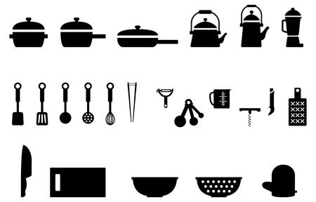 kitchen tools: Keuken gereedschap keuken apparatuur pictogrammen Cookware set Stock Illustratie