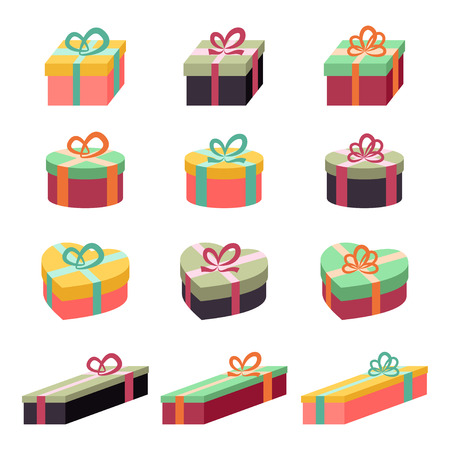 Gift box icon set Stock Illustratie