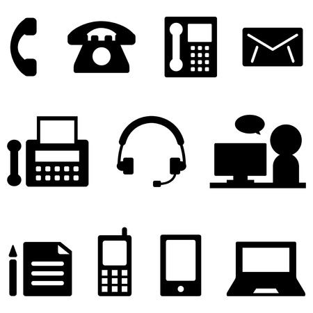 phone us: Contact icon set