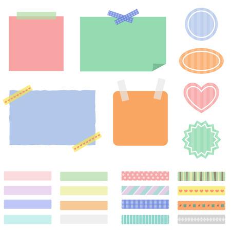 Tape note set  イラスト・ベクター素材