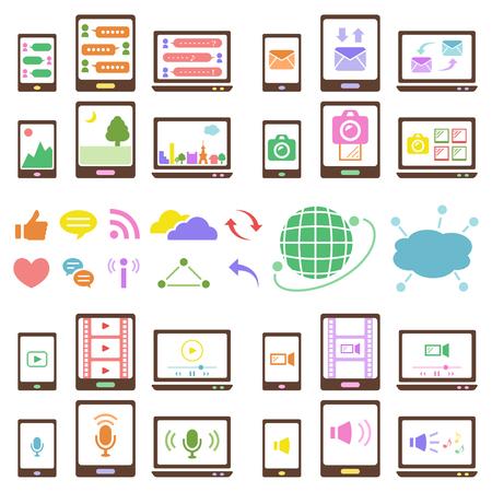 Social media iconen instellen Stock Illustratie
