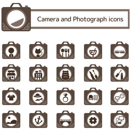 book mark: Camera photo icon set
