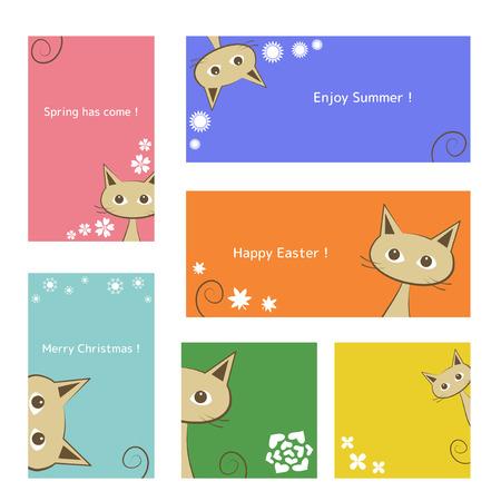 animal frame: Cat card set