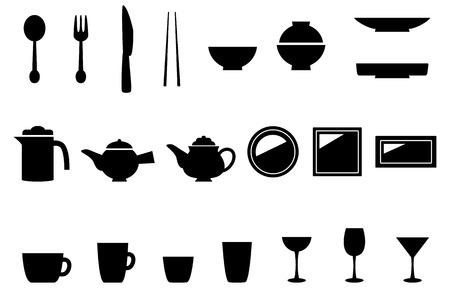 cuchara: Cocina cocina del icono del equipo conjunto