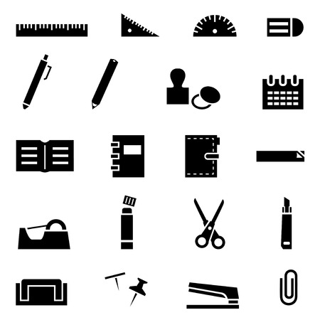 papeleria: Papelería conjunto de iconos