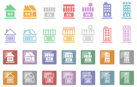 Stores company icon set