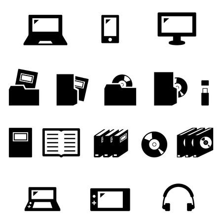 CD DVD game icons set  イラスト・ベクター素材