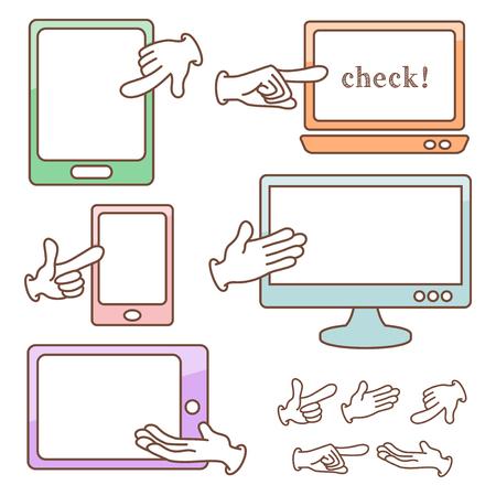 Smart Geräte und Hand Vektorgrafik