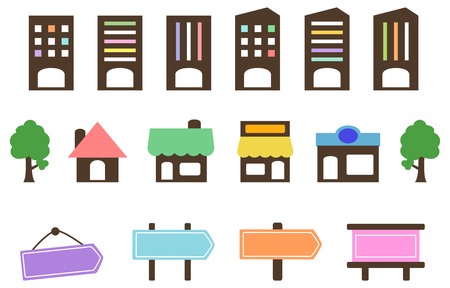 Company store signage icon set