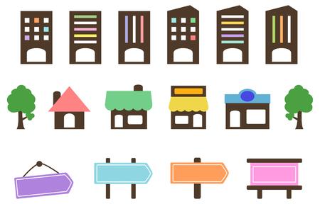 Set di icone segnaletica di negozio dell'azienda Vettoriali