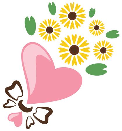 Sunflower bouquet, vector illustration.