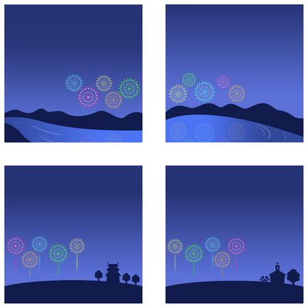 Fireworks night sky background set, vector illustration.