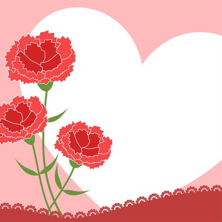 Carnation heart background, vector illustration.