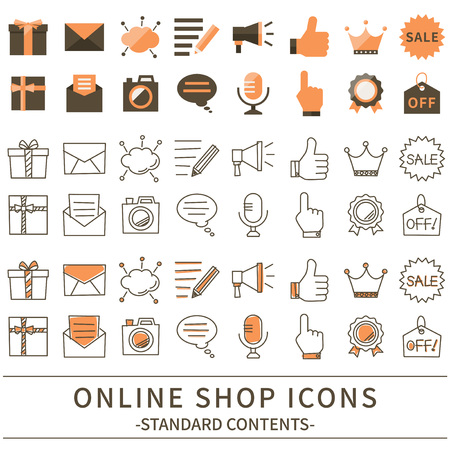 word of mouth: Shop online icon set.