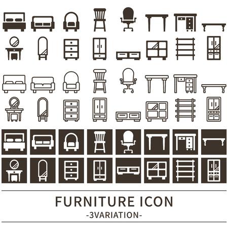 Furniture icon set vector illustration. Ilustração