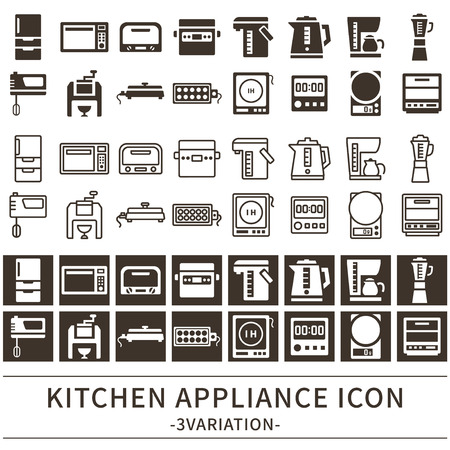 Kitchen appliance icon set
