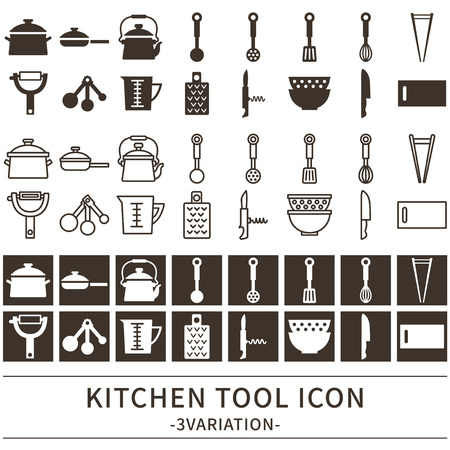 Kitchen tool icons set Illustration