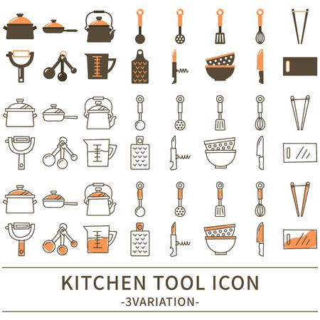 キッチン ツール アイコンは、ベクター グラフィックを設定します。  イラスト・ベクター素材