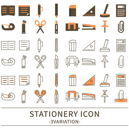 office stapler: Stationery icon set.