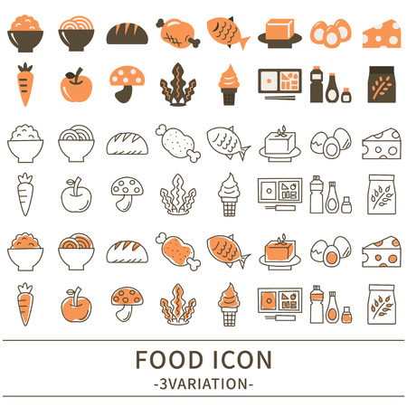 Ensemble d'icônes alimentaires Vector illustration.