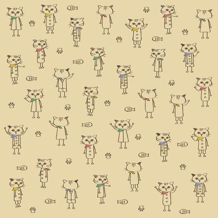 Bandana cat illustration set