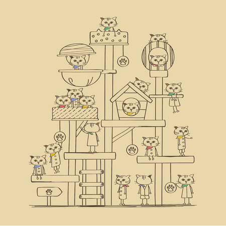 Bandana kitty cat Tower illustration Vectores