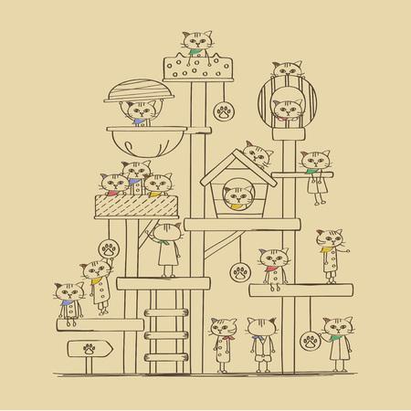 Bandana kitty cat Tower illustration 일러스트