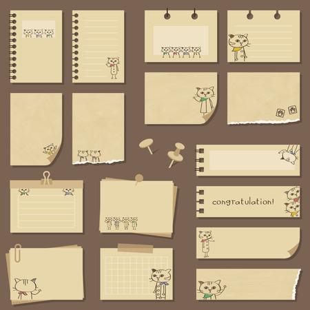 Bandana cat notebook set  イラスト・ベクター素材