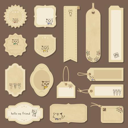 Bandana cat label & tag set Stock Illustratie