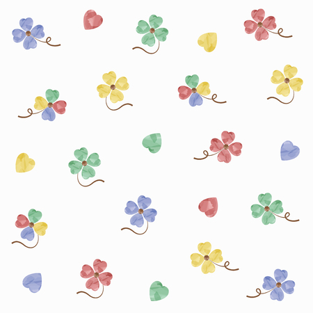 Watercolor clover illustration set  イラスト・ベクター素材