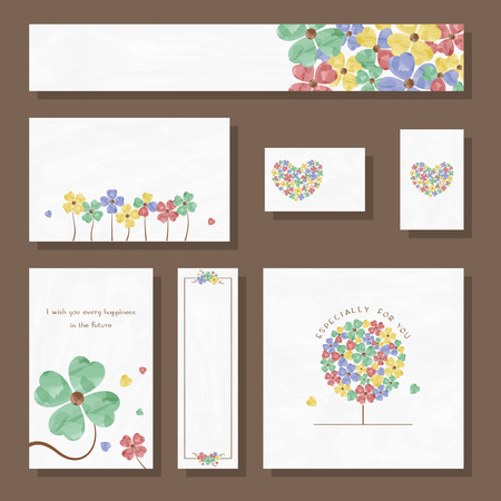 Watercolor Clover Banner Card Set Illustration